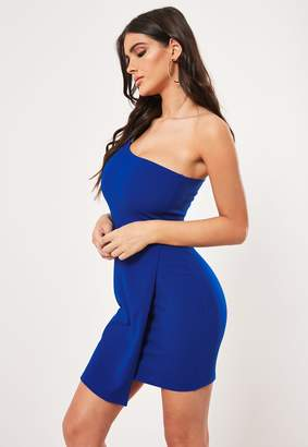 Missguided Blue One Shoulder Wrap Hem Bodycon Mini Dress