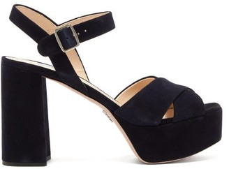 Prada Crossover Suede Platform Sandals - Womens - Navy