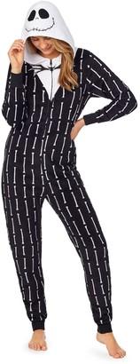 Licensed Character Disney Nightmare Before Christmas Juniors' Jack Skellington Hooded One-Piece Pajamas