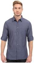 John Varvatos Roll Up Sleeve Shirt w/ Button Down Collar Single Pocket Men's Long Sleeve Button Up