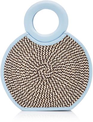 Adriana Castro Zenu Mini Leather-Trimmed Woven Straw Tote