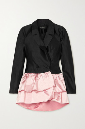 Rasario Two-tone Ruffled Duchesse Silk-satin Blazer - Black