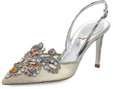 Rene Caovilla Jeweled Snakeskin Slingback 75mm Pump, Sea/Multi