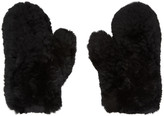 Yves Salomon Black Fur and Leather Mittens