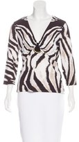 Roberto Cavalli Embellished Abstract Print Top
