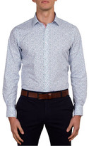 James Harper Austin Two Colour Leaf Print Slim Fit Shirt