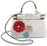 Fendi Micro Peekaboo Flower-Embellished Leather Satchel