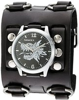 Nemesis 'Dragon Head' Quartz Stainless Steel and Leather Automatic Watch, Color:Black (Model: WB903K)