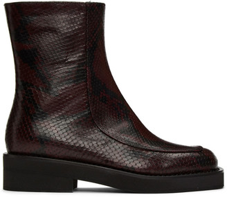 Marni Burgundy Snake Square Toe Ankle Boots