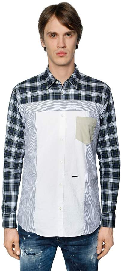 DSQUARED2 Patchwork Cotton Poplin Shirt