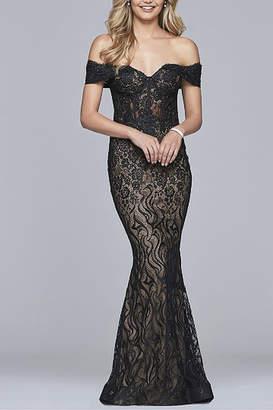 Faviana Long lace off-the-shoulder dress