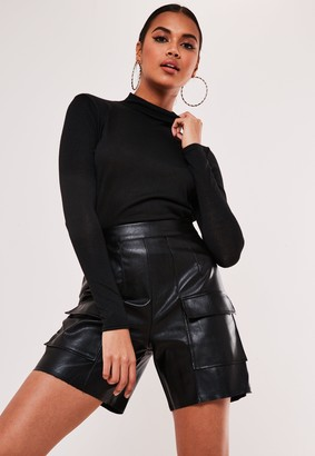 Missguided Black High Neck Long Sleeve Top