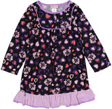 Purple & Black Fox Ruffle Nightgown - Toddler & Girls