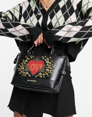 Love Moschino full of love studded top handle bag in black
