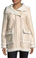 Maje Notch Collar Faux Fur-Trimmed Jacket