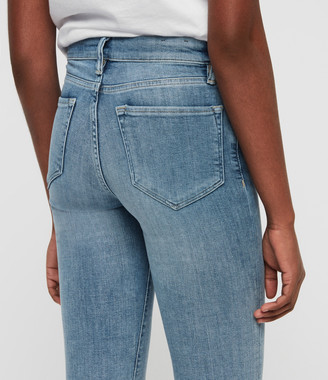 AllSaints Grace Dart Ankle Mid-Rise Skinny Jeans, Light Indigo Blue