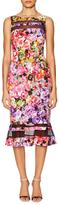 Badgley Mischka Print Mesh Drop Waist Dress