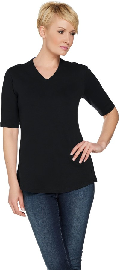 Isaac Mizrahi Live! Essentials V-Neck Elbow Sleeve Tunic
