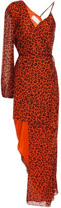Mason by Michelle Mason Asymmetric Layered Leopard-print Silk-chiffon Maxi Dress