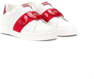 Dolce & Gabbana Kids Heart Strap Slip-On Sneakers