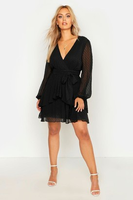 boohoo Plus Ruffle Hem Dobby Mesh Skater Dress