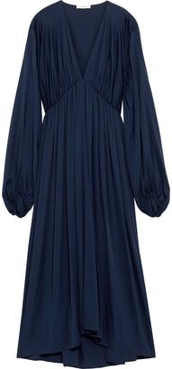 The Row Sasha Gathered Silk-blend Satin Midi Dress