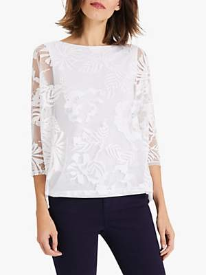 Phase Eight Beth Burnout Floral Short Sleeve Top, White