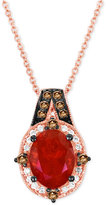 LeVian Le Vian® Chocolatier Fire Opal (9/10 ct. t.w.) and Diamond (1/5 ct. t.w.) Pendant Necklace in 14k Rose Gold