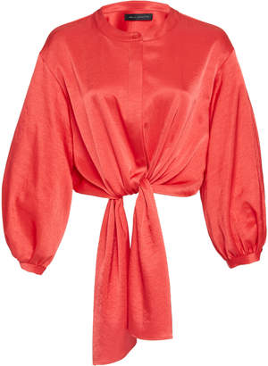 Sally LaPointe Stretch Crinkle Satin Blouson Sleeve Tie Front Blouse