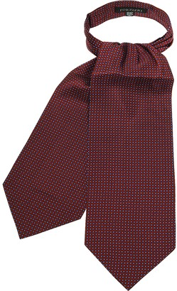 Forzieri Micro Feather Red Twill Silk Ascot Tie