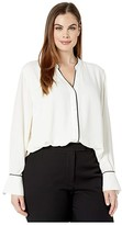 Vince Camuto Specialty Size Plus Size Long Sleeve Button-Down Color Blocked Blouse (Pearl Ivory) Women's Clothing