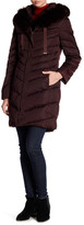 Tahari Quilted Down With Genuine Fox Fur Trim Hood Jacket