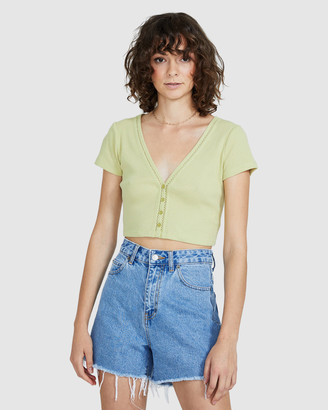 Don't Ask Amanda Belanie Rib Trim Button T-Shirt