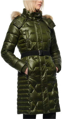 Andrew Marc Belted Faux Fur Hooded Down Puffer Coat