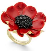Kate Spade 14k Gold-Plated Enamel and Stone Poppy Ring