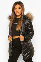 Thumbnail for your product : boohoo Petite Faux Fur Trimmed Puffer Coat