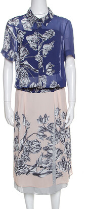 Derek Lam Bicolor Floral Print Crepe Shirt Dress L