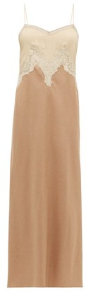 Gabriela Hearst Adolphine Lace-trimmed Silk-blend Slip Dress - Womens - Camel