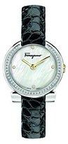 Salvatore Ferragamo Women's 'Gancino Evening' Swiss Quartz Stainless Steel and Leather Casual Watch, Color:Black (Model: FAP030016)