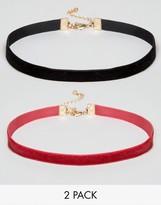 Asos Velvet Pack of 2 Choker Necklace