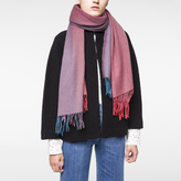 Paul Smith Women's Large Raspberry Ombré Lambswool-Cashmere Scarf