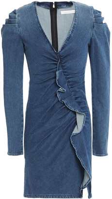 Jonathan Simkhai Gathered Ruffled Denim Mini Dress
