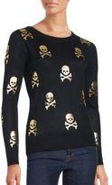 Saks Fifth Avenue Metallic Skull Print Sweater