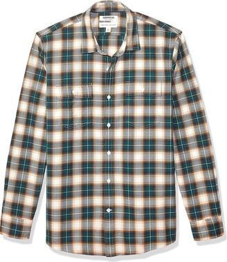 Goodthreads Amazon Brand Men's Standard-Fit Long-Sleeve Plaid Herringbone Shirt