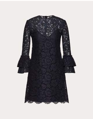 Valentino Heavy Lace Dress With Ruffles