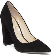 Jessica Simpson Tanysha Suede Leather Pointed-Toe Block Heel Slip-On Pumps