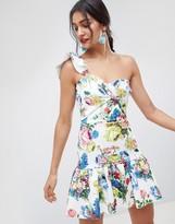 Asos Design DESIGN floral one shoulder mini dress