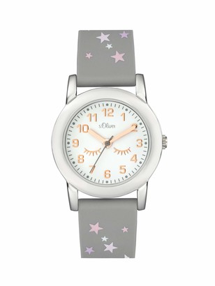 S'Oliver Girl's Analogue Quartz Watch with Silicone Strap SO-3998-PQ