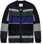 Sacai Colour-Block Cotton-Bouclé Cardigan