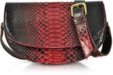 Ghibli Red Python Leather Half-Moon Shoulder/Belt Bag